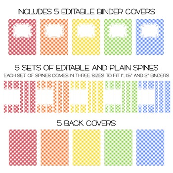 Five Editable Binder Cover Sets - Great for Teacher Binders, Portfolios and MORE