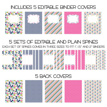 Five Editable Binder Cover Sets - Great for Teacher Binders, Data Binders & MORE