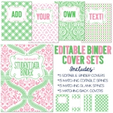 Five Editable Binder Cover Sets - Pink & Green - For Data,