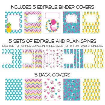Five Editable Binder Cover Sets - Tropical Theme - Pineapple, Flamingo and More!