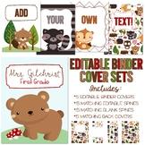 Five Editable Binder Cover Sets - Woodland Animals - For D