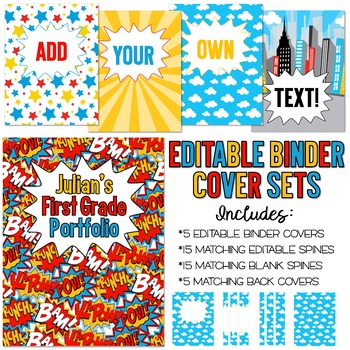 photograph about Free Editable Printable Binder Covers and Spines referred to as 5 Editable Superhero Binder Protect Sets - Superb for Instructor Binders Far more