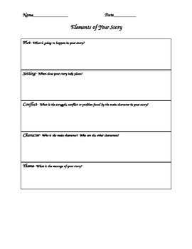 Five Elements of Your Story (Graphic Organizer)