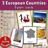 Five European Countries Montessori 3-part Cards Bundle