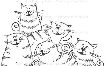 Five Fat Cartoon Cats