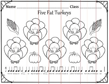 Five Fat Turkeys Folk Song Coloring and Puzzle Activity