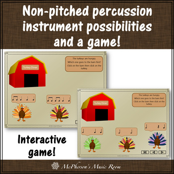Thanksgiving Music Lesson ~ Five Fat Turkeys: Orff, Rhythm, Form and Instruments