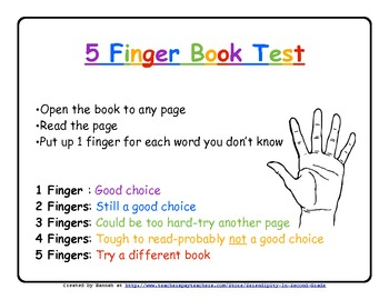 Five Finger Book Test ~ How To Choose a Just Right Book