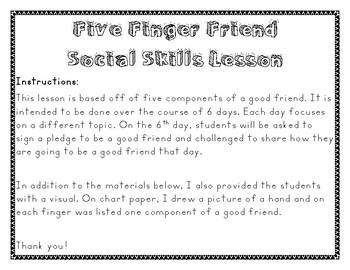 Five Finger Friend Social Skills Lesson