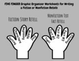 Five Finger Retell Writing Graphic Organizers for Fiction & Nonfiction Reading