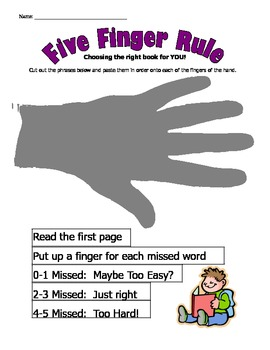Five Finger Rule Worksheet:  Choosing the Right Book for YOU