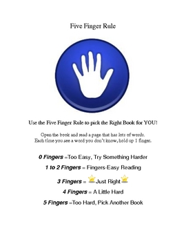 Five Finger Rule for Selecting Just Right Books