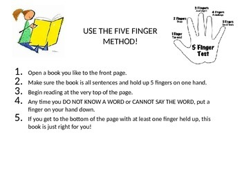Five Finger Rule of Reading With Bookmarks and Poster