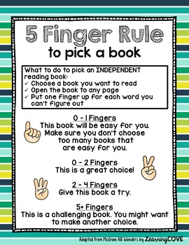 Five Finger Rule to Pick a Good Book! - Wonders McGraw Hill - 12 Styles!!