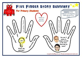 Five Finger Story Summary Organizer