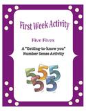 First Week of School: Five Fives - A Number Sense Activity