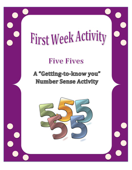 First Week of School: Five Fives - A Number Sense Activity