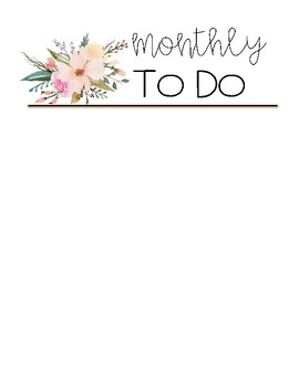 Floral To Do Lists