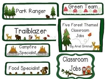 Five Forest Themed Classroom Jobs