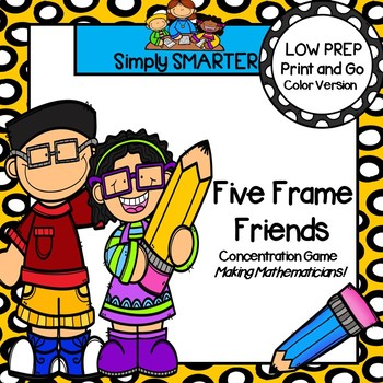 LOW PREP Back to School Themed Five Frame Card Game