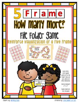 Five Frame - How Many More?  File Folder Math Game