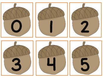 Five Frame Number Match 0-5 Math Center - Thanksgiving Themes