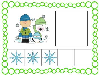 Five Frame Number Match 0-5 Math Center - Winter Themes