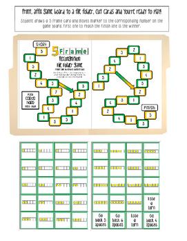 Five Frame Recognition File Folder Math Game