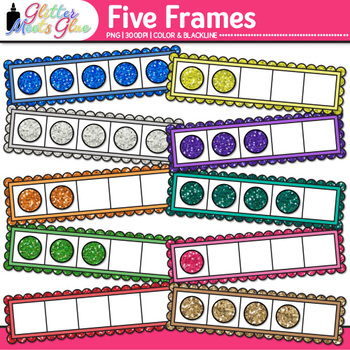 Five Frame Clip Art {Math Tools for Place Value, Number Sense, & Fact Fluency}