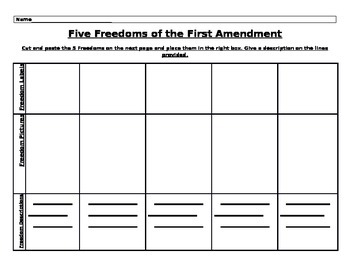 Five Freedoms of the First Amendment Cut and Paste Activity
