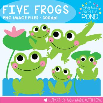 Five Frogs - Color + Line Art Clipart for Teachers