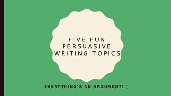 Five Fun Persuasive Writing Prompts