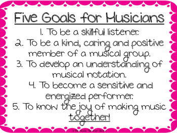 Five Goals for Musicians- A Great Poster for Your Music Room!