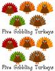 Five Gobbling Turkeys Sight Word Reader