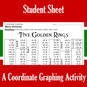 Christmas - Five Golden Rings - A Coordinate Graphing Activity