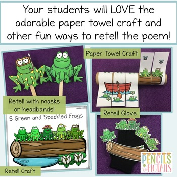 Five Green & Speckled Frogs -STEM, ELA, Crafts, Writing, Math, & more!