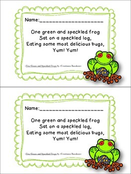 Five Green and Speckled Frogs Learning Pack