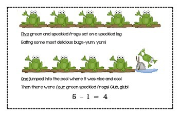 Five Green and Speckled Frogs Predictable Math Reader and More!