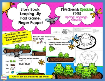 Five Green and Speckled Frogs: Spring Speech Therapy Activities