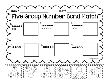 Five Group Number Bond Match- Cut and Paste- Common Core Aligned- ENY