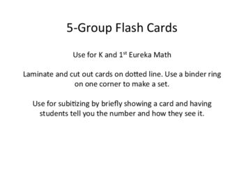 Five Group Subitizing Flash Cards for use with Eureka Math