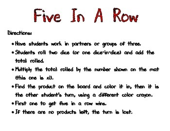 Five In A Row Multiplication Game Sample (x1)