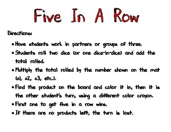 Five In A Row Multiplication Pack (x1-x12)