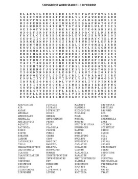 Five Kingdoms Word Search - 100 Words!