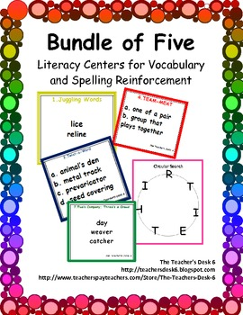 Bundle of Five Literacy Centers for Vocabulary and Spelling