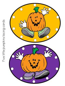 Five Little Pumpkins Lacing cards