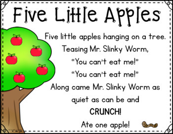 Five Little Apples Pocket Chart