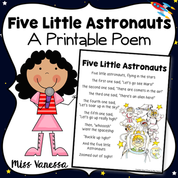 Five Little Astronauts ~ Printable Poem for Outer Space Theme & Poetry Journals