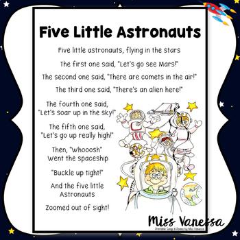 Five Little Astronauts Poem by Miss Vanessa   Teachers Pay ...