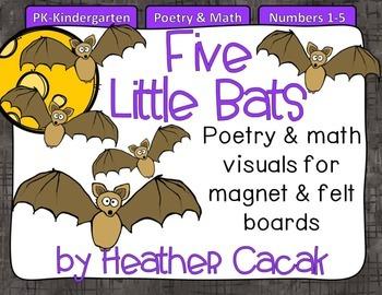 Five Little Bats Felt & Magnet Board Activity (Math & Literacy)